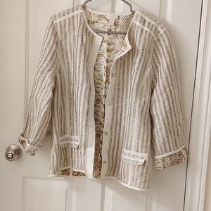 Chico's cream snakeskin pattern linen jacket sz 2